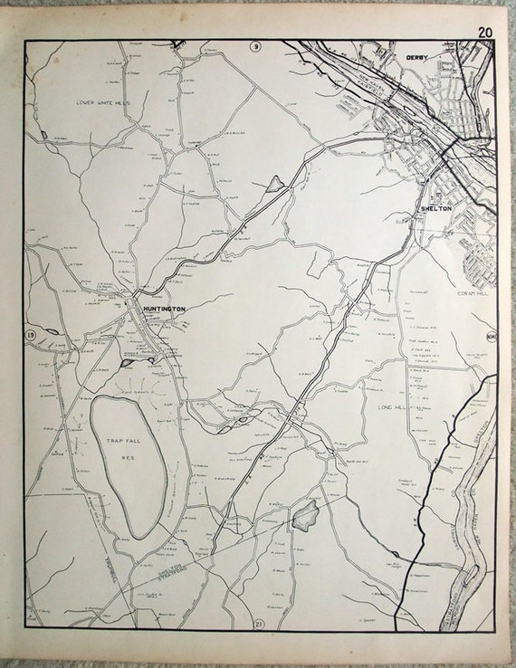 Shelton CT, Huntington & Parts of Derby - Large 1931 Map by Dolph and  Stewart. Vintage Original