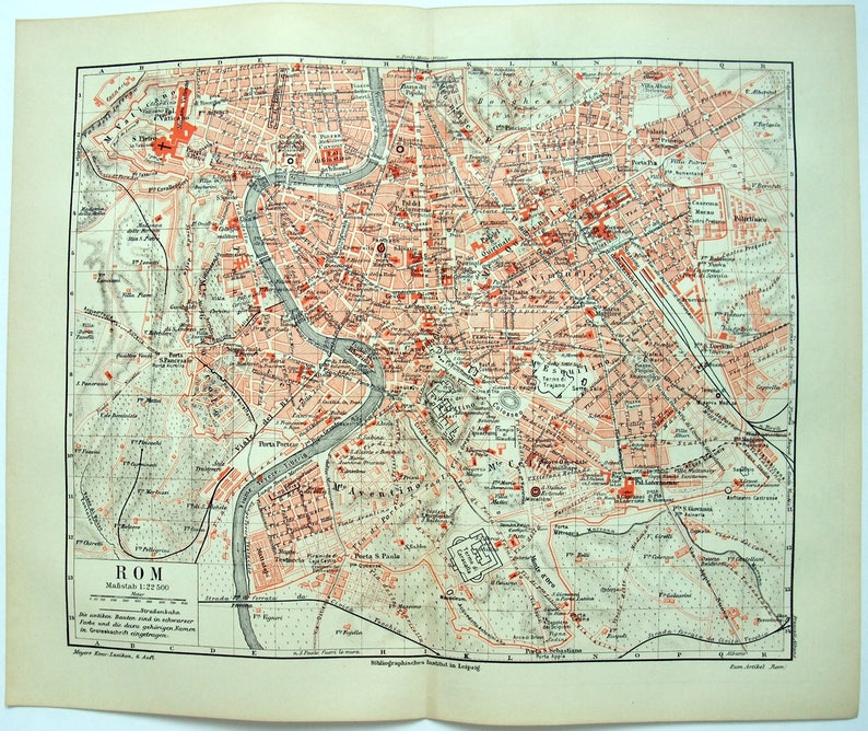 Original 1907 City Map of Rome Italy by Meyers. Antique | Etsy on