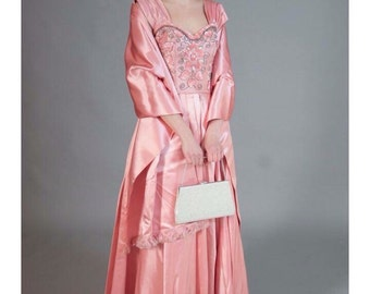 SALE     Vintage Haute Couture Satin Ball Gown