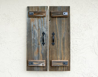 Rustic Shutters. Set of 2. Wooden Door Shutters. Rustic Barn