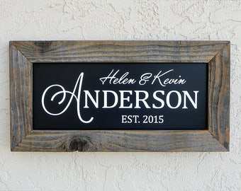 Custom Family Name Signs. Established Family Name Sign. Wooden Frame Sign. Rustic Signs. Established Signs. Personalized Wood Signs. 20x10