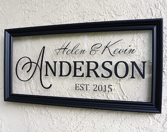 Modern Family Name Sign. Personalized Family Name Sign. Picture Frame Established Family Sign. Established Sign. Custom Wedding Sign. 10x20