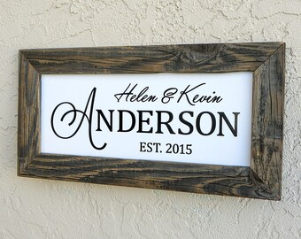 Custom Wedding Sign. Custom Family Name Sign. Custom Sign. Established Family Name Sign. Rustic Signs. Wedding Sign. 20x10