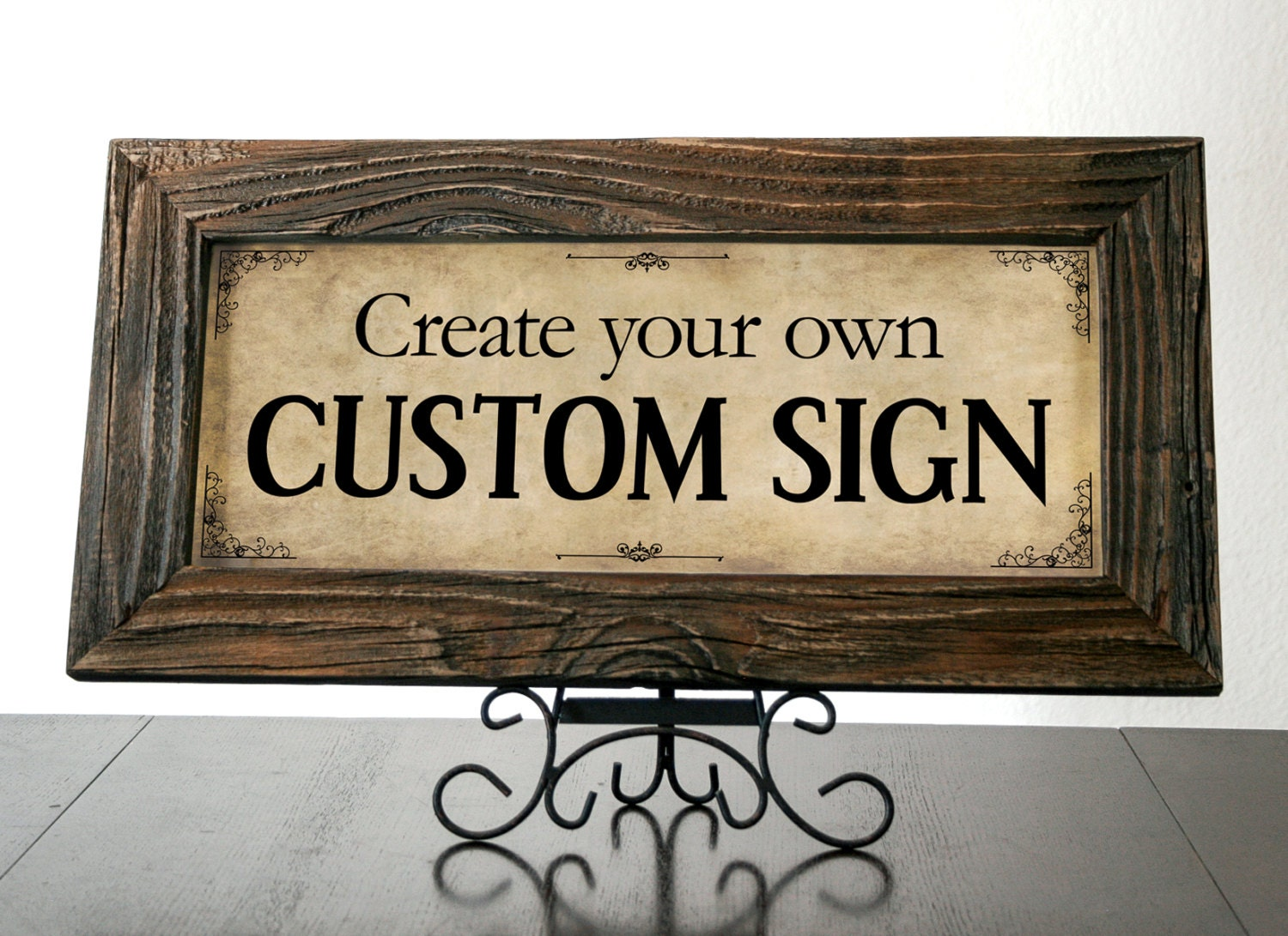 Custom Rustic Sign with Reclaimed Wood Frame. Office Sign. Custom Quote Sign. Personalized Signs. Custom Business Sign. 20x10