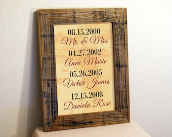 Custom Family Name Sign. Important Dates Sign. Custom Signs. Rustic Signs. Reclaimed Wood Framed Sign. Family Dates Sign. Custon Sign 12X 16