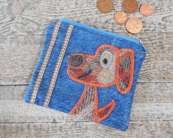 Dog Purse, Coin Purse, Whimsical Purse, Denim Purse, Zip Purse, Folk Art Pouch, Applique Purse, Recycled Gift, Upcycled Purse, Unique Gift