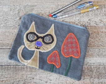 Quirky Cat Case, Pencil Case, Large Pencil Case, Denim Pencil Case, Recycle Case, Upcycle Case, Zip Case, Zipper Pouch, Applique Make-up Bag