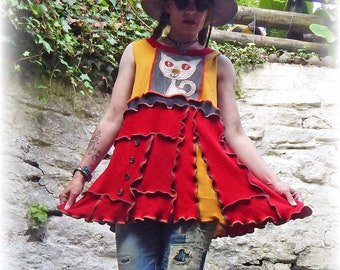f51a2b2dfbc Hippy Cat Sleeveless Tank Dress Quirky Unique Tunic