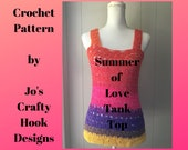 Crochet Pattern-Tank Top-Summer of Love Tank Top Pattern-Tank Top Pattern-Crochet Pattern for Tank Top-Wrapped In Love Tank Top-Cancer Aware