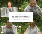 Crochet Pattern-Diamonds Poncho Crochet Pattern-Crochet Pattern for Poncho-Poncho Crochet Pattern-Diamonds Poncho Pattern