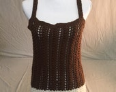 Crocheted Tank Top-Crocheted Brown + White Tank Top-fits L-XL Handcrafted Brown + White Tank Top-Crocheted Tank Top Sweater-Fits X-XL