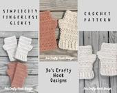 Crochet Pattern-Simplicity Fingerless Gloves Crochet Pattern-Simplicity Gloves-Crochet Pattern for Fingerless Gloves-Pattern for Gloves