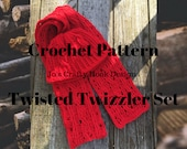 Crochet Pattern-Twisted Twizzlers Set Crochet Pattern-Crochet Pattern for Beanie & Hat in 8 sizes-Unisex Beanie Pattern -Family of Sizes