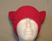 Crochet Cat Ear Hat-Crochet Hat-Crochet Hot Pink Cat Ears-Hot Pink Hat-Hat-Handmade Hat-Cat Ears Hat-Handmade Cat Ears-Handmade-Pussycat Hat