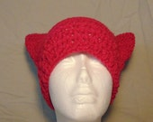 Crocheted Cat-Eared Hat-Crocheted Hat-Crocheted Hot Pink Cat Ears-Hot Pink Hat-Hat-Handmade Hat-Cat Ears Hat-Handmade Cat Ears-Handmade