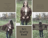 Crochet Pattern for the Pocket Full of Diamonds Shawl-Pocket Full of Diamonds Shawl pattern-how to crochet the Pocket Full of Diamonds Shawl