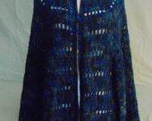 Shawl-Wrap-Poncho-Poncho/Shawl-Crocheted Poncho/Shawl/Wrap-Crocheted Blue Varigated Poncho/Shawl/Wrap-Handcrafted Blue Poncho/Shawl/Wrap