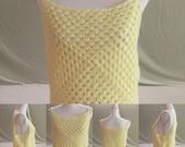Crocheted Granny Square Tank Top - Granny Square Tank Top - Granny Square Summer Top - Crocheted Tank Top - Crocheted Summer Top -Yellow Top