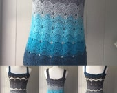 Crocheted Ombre Blue & Gray Tank Top fits S to L-Crochet Blue and Gray Tank Top-Crocheted Gift for Women-Crocheted Tank Top-Crocheted Top