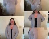 Gray Cardigan-Cardigan-Gray Sweater-Crochet Cardigan-Women/Junior Cardigan-Crochet Sweater-Gift Idea for Women-Long Sleeve Cardigan-Sweater