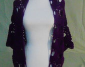 Crocheted Purple Shawl/Wrap/Cowl-Handcrafted Purple Shawl/Wrap/Cowl-Purple Shawl/Wrap/Cowl