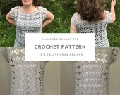 Crochet Pattern-Diamonds Summer Tee Crochet Pattern-Crochet Pattern for Tee-Summer Top Crochet Pattern-Top Crochet Pattern