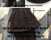 Jim's Twisted Knot Set Crochet Pattern-Crochet Pattern for Beanie & Hat 8 sizes-Unisex Beanie Pattern -Whole Family of Sizes-Hat and Scarf