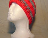 Crocheted Red & Gray Ear Warmers-Crocheted Headband-Crocheted Ohio State colored Messy Bun Hat-Handcrafted Ear Warmers-Gift Idea for Men
