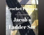 Crochet Pattern-Jacob's Ladder Set Crochet Pattern-Crochet Pattern for Beanie & Hat 8 sizes-Unisex Beanie Pattern -Whole Family of Sizes