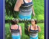 Crochet Pattern-Tank Top-Ombre Waves Tank Top Pattern-Tank Top Pattern-Crochet Pattern-Ombre Waves Crochet Tank Top Pattern-Crochet Tank Top