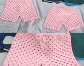 Crocheted Summer Shorts for Girls-Crocheted Sleep Shorts for Girls-Crocheted Swimsuit Cover Shorts-Crocheted Summer Shorts-Customize to Fit