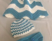 Newborn Set-Custom Order-Baby Blanket, Hat, and Diaper Cover-Crocheted Newborn Set includes Blanket, Hat, and Diaper Cover-Baby Shower Gift