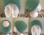 Crochet Pattern-Mint Julep Hat Pattern-Pattern for Crochet Reversible Messy Bun Hat-Pattern for Crochet Green Hat-Pattern for Messy Bun Hat