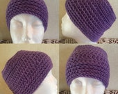 Crocheted Purple Waves Messy Bun Hat-Crocheted Hat-Crocheted Messy Bun Hat-Crochet Purple Hat-Crochet Messy Bun Hat-Reversible-Hat-Messy Bun