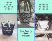 Crochet Pattern-Flower Lace Planter Cover Crochet Pattern-Planter Cover Crochet Pattern-How to Crochet a Planter Cover-Planter Cover Pattern