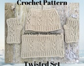 Crochet Pattern-Pattern for Twisted Set -Twisted Messy Bun Hat, Cowl, and Fingerless Gloves Set-Crochet Pattern for Spring, Fall or Winter