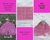 Crochet Pattern-Child Size Diamond Arches Pocket Shawl Crochet Pattern-Child Size Shawl Crochet Pattern-Crochet Pattern for Child Shawl