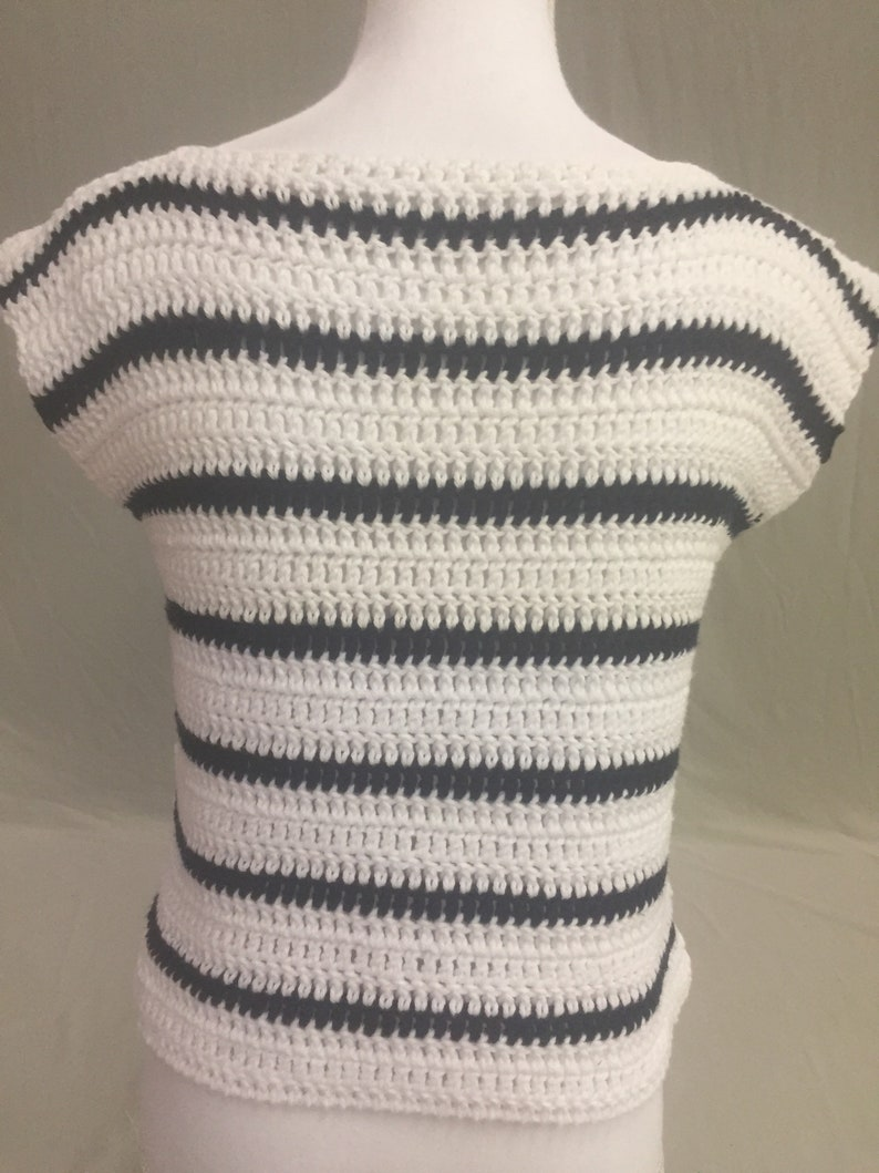 Summer Top-Cotton Summer Top-Crocheted Cotton Tee-Crocheted Cotton Sleeveless Tee-Black /& White Striped Tee-Cotton Tee-Striped Cotton Top
