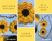 Crochet Pattern-Sunflower Applique Crochet Pattern-Crochet Pattern for Sunflower Applique-How to Crochet Sunflower Applique-Custom Order