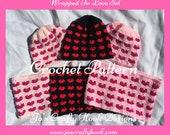 Crochet Pattern-Crochet Pattern for Hat & Cowl-Cancer Awareness Crochet Pattern-Valentine Crochet Pattern Set-Wrapped in Love Crochet Set