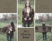 Crochet Pattern for the Pocket Full of Diamonds Shawl-Pocket Full of Diamonds Shawl pattern-how to crochet the Pocket Full of Diamonds Shawl