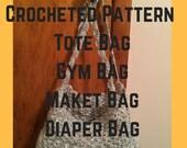 Lunch Bag Crochet Pattern-Brown Bag It Crochet Pattern-Tote Crochet Pattern-Tote Bag Crochet Pattern-Grocery Bag Pattern-Market Bag Pattern