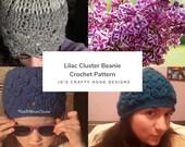 Crochet Pattern-Lilac Cluster Beanie Crochet Pattern-Crochet Pattern for Beanie-Pattern for Spring Hat-Pattern for Summer Hat-Beanie Pattern
