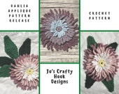 Crochet Pattern-Dahlia Applique Crochet Pattern-Crochet Pattern for a Dahlia-Dahlia Flower Crochet Pattern-Crochet Pattern for a Flower