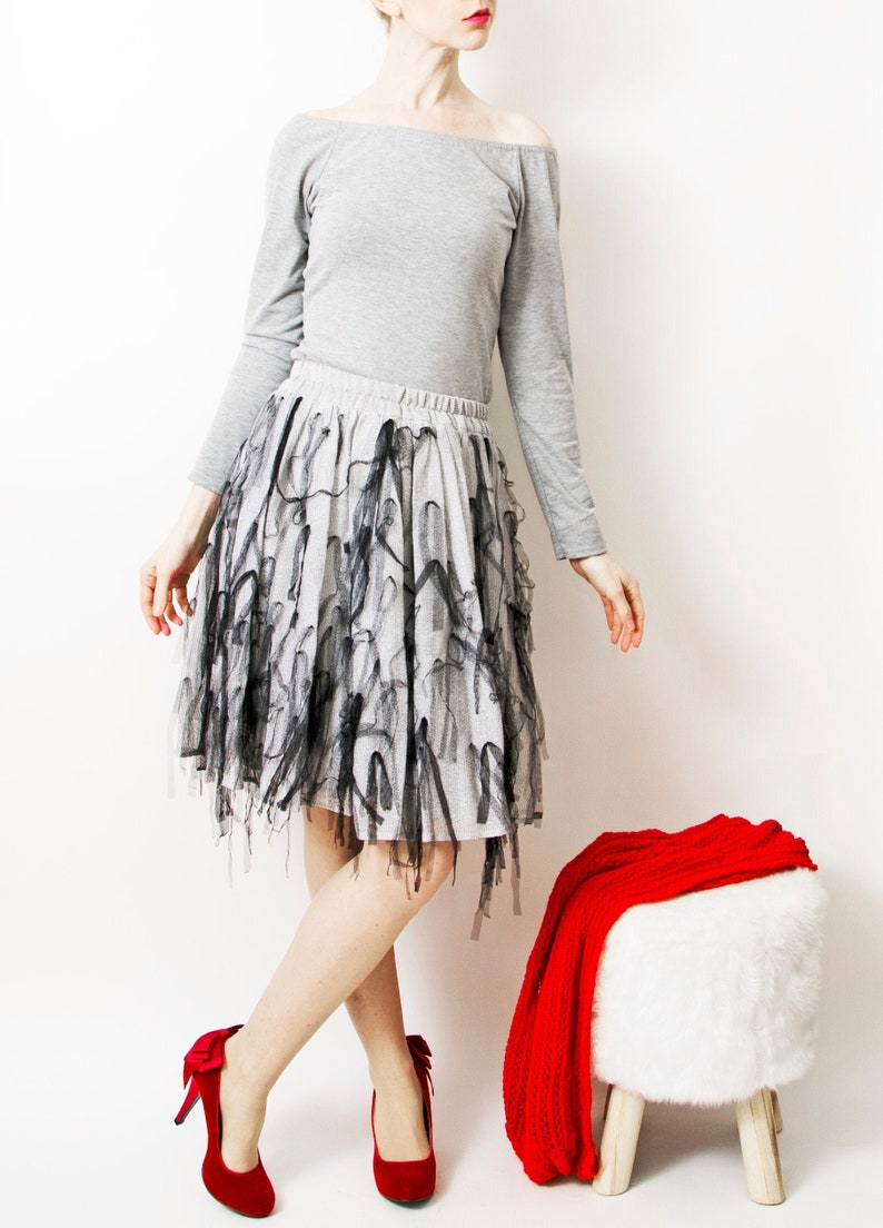 SALE Tulle skirt  silver tulle image 0