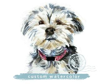 Custom Dog painting, dog portrait, watercolor, pet portrait, watercolor painting, custom dog painting, dog owner gift, dog wall art