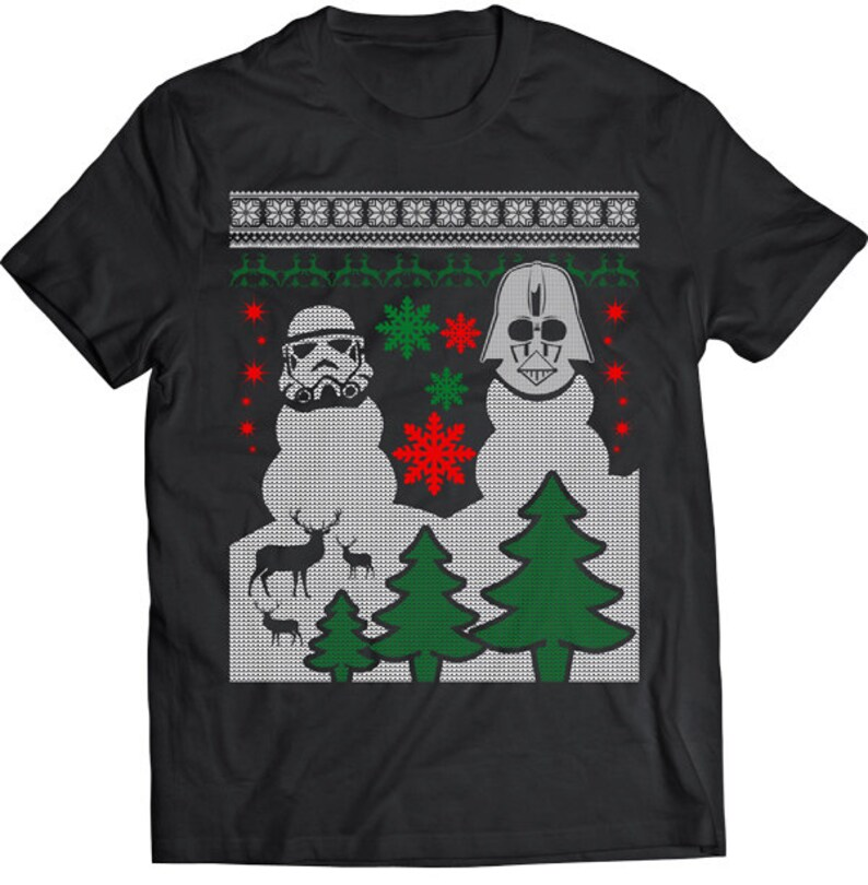 7f58a955 Funny Trooper Battles Darth Vader Ugly Christmas Sweater Tshirt Gift T-shirt  Tee Shirt Christmas Star Wars Mens Santa Storm Trooper Battle
