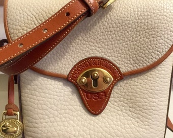Stunning 1980's Authentic Dooney and Bourke Binocular Shoulder Bag, Crossbody Bag, Beige and British Tan Pebbled All Weather Leather.