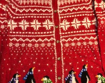 Fabulous Woman's Vintage Penguin Ugly Christmas Sweater, Fuzzy Snowflakes, Woman's Size XL Button Down Winter Cardigan, Clean!