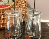 Fabulous Vintage Milk Bottles In Original Iron Carrier, Vintage J J Farms, Beatrice Nebraska